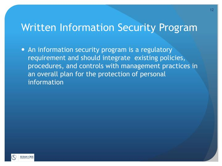 Written Information Security Program