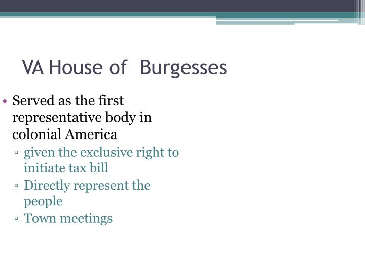 VA House of  Burgesses