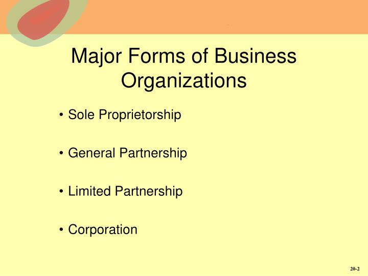 Major forms of business organizations