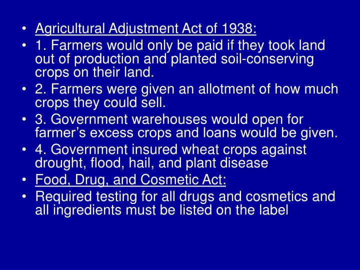 Agricultural Adjustment Act of 1938: