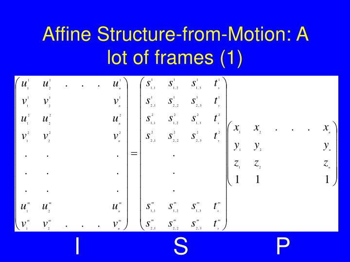 Affine structure from motion a lot of frames 1