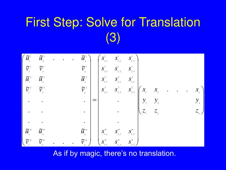First Step: Solve for Translation (3)