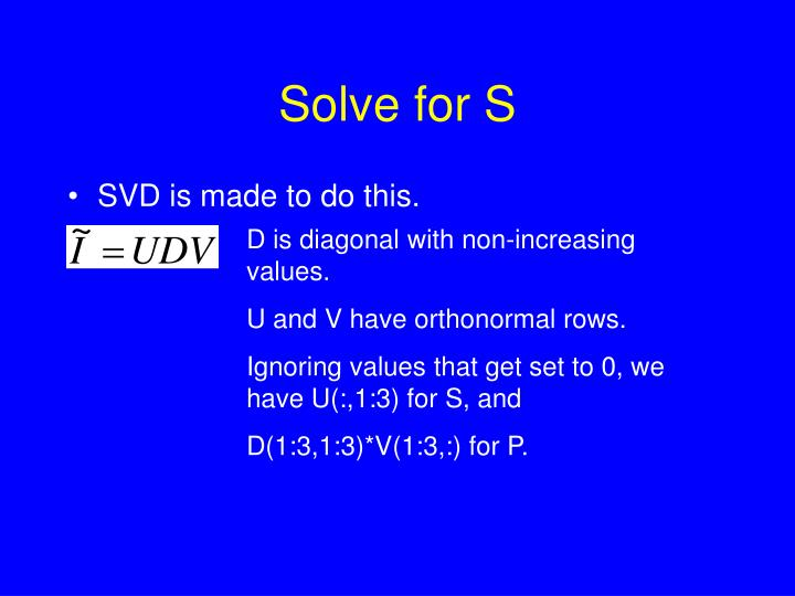 Solve for S