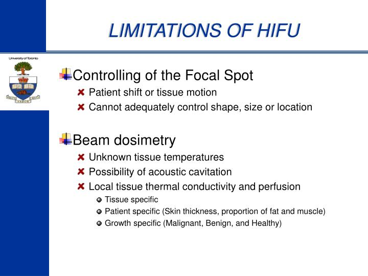 LIMITATIONS OF HIFU