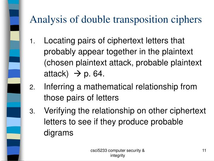 Analysis of double transposition ciphers