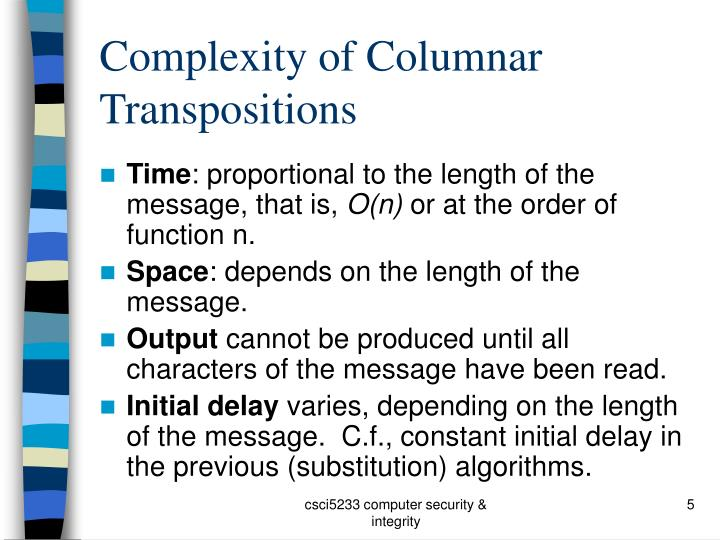 Complexity of Columnar Transpositions