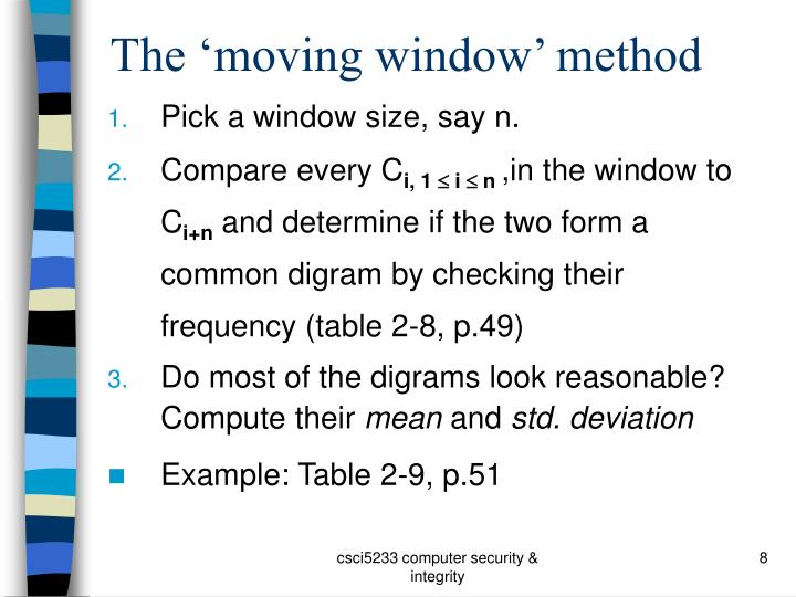 The 'moving window' method