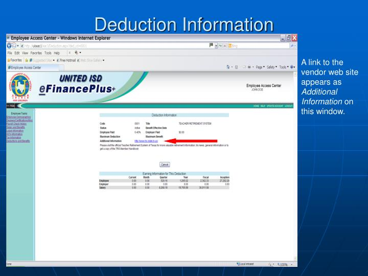 Deduction Information