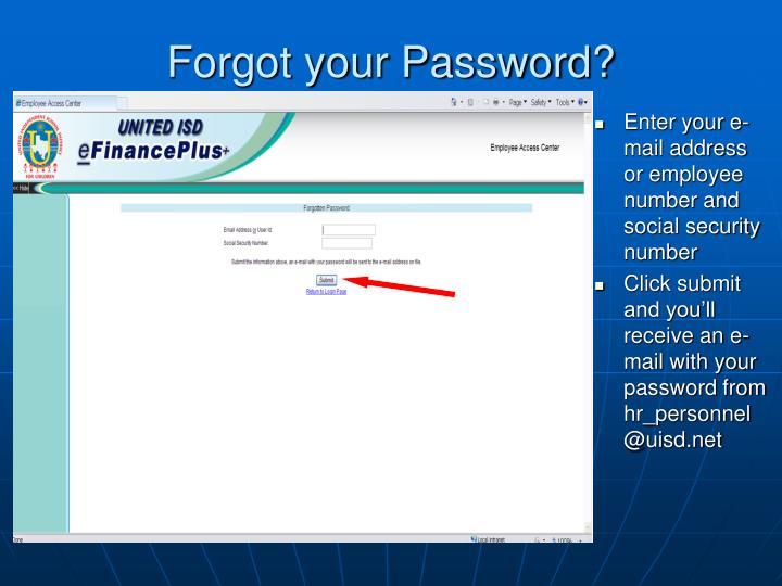Forgot your Password?