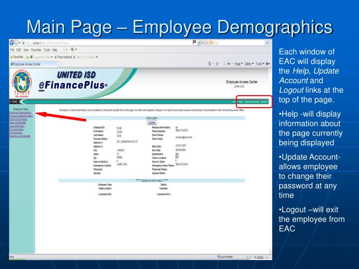 Main Page – Employee Demographics