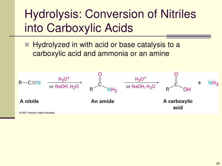 Hydrolysis: Conversion of Nitriles into Carboxylic Acids