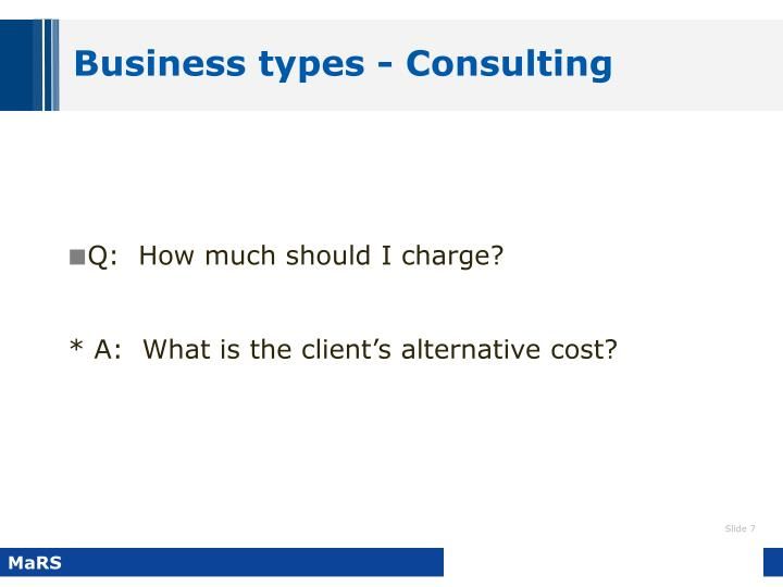 Business types - Consulting