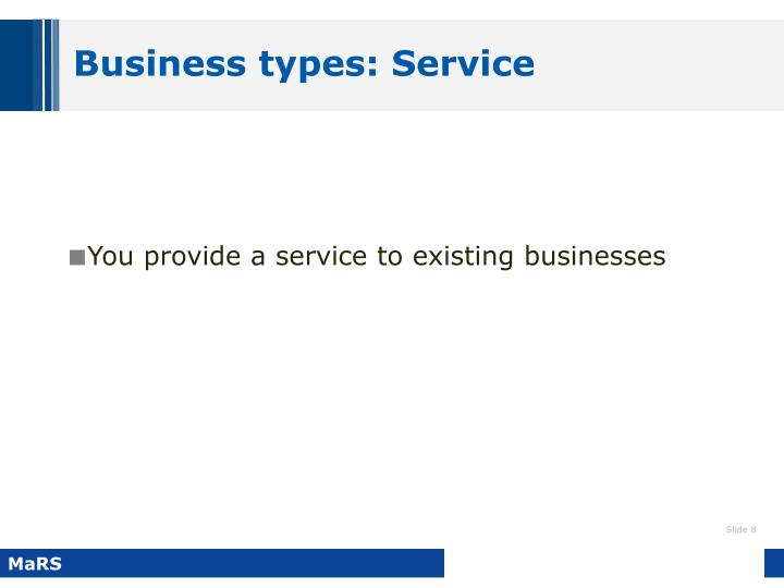 Business types: Service