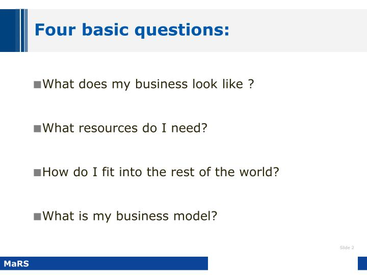 Four basic questions