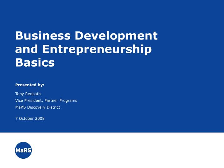 Business development and entrepreneurship basics