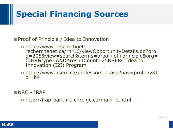 Special Financing Sources