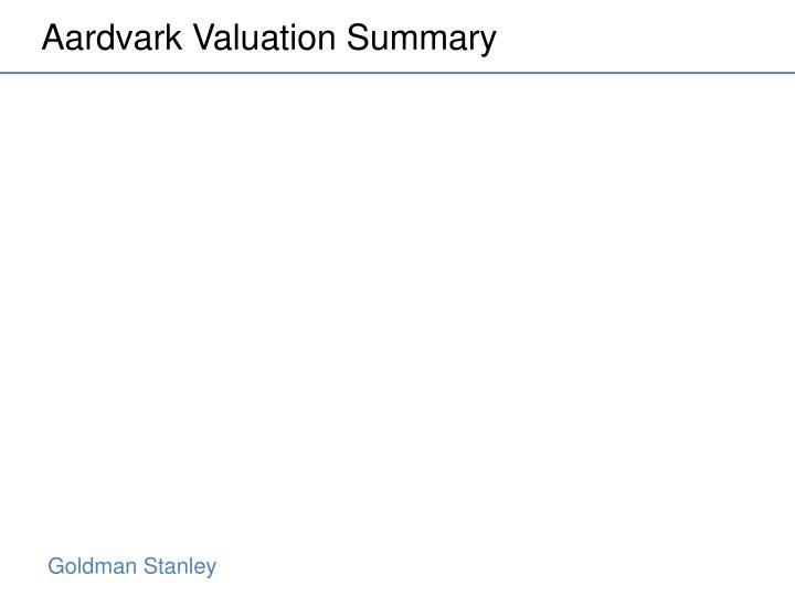 Aardvark Valuation Summary