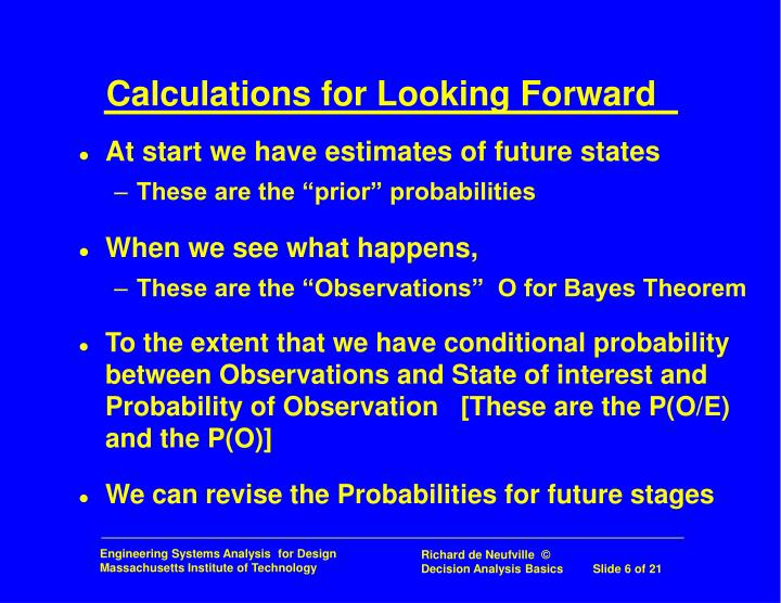 Calculations for Looking Forward