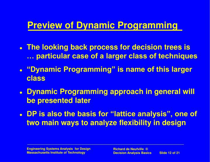 Preview of Dynamic Programming
