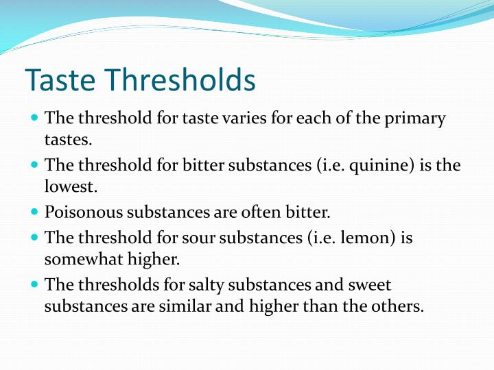 Taste Thresholds