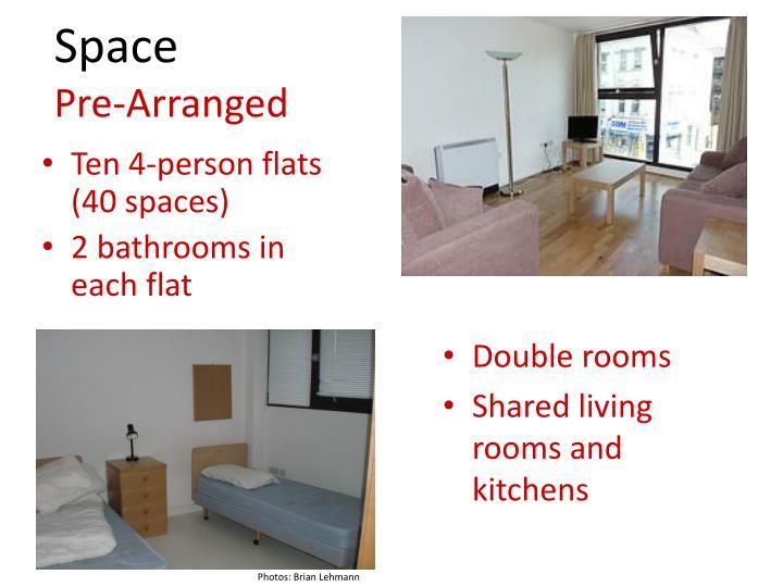 Ten 4-person flats (40 spaces)