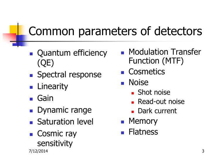 Common parameters of detectors