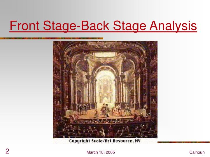 Front Stage-Back Stage Analysis