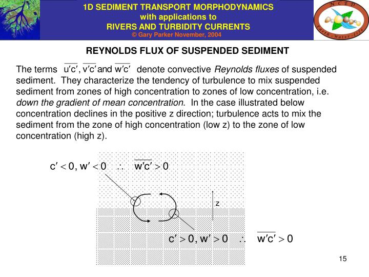 REYNOLDS FLUX OF SUSPENDED SEDIMENT
