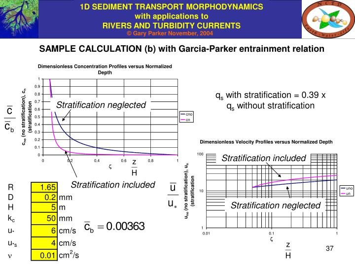 SAMPLE CALCULATION (b) with Garcia-Parker entrainment relation