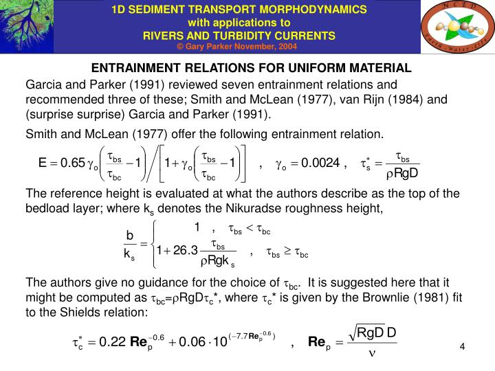 ENTRAINMENT RELATIONS FOR UNIFORM MATERIAL