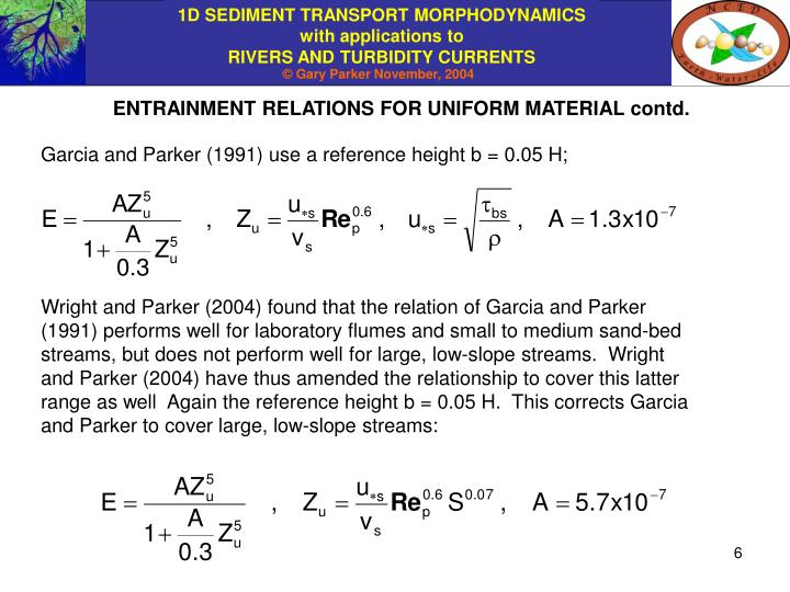 ENTRAINMENT RELATIONS FOR UNIFORM MATERIAL contd.