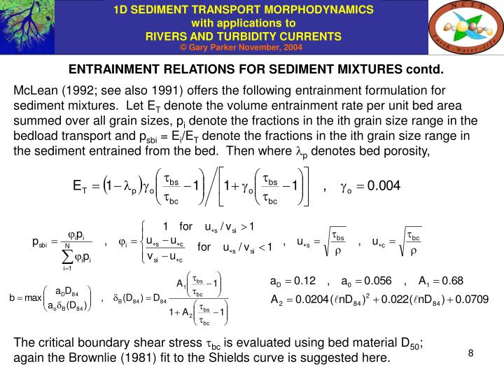 ENTRAINMENT RELATIONS FOR SEDIMENT MIXTURES contd.