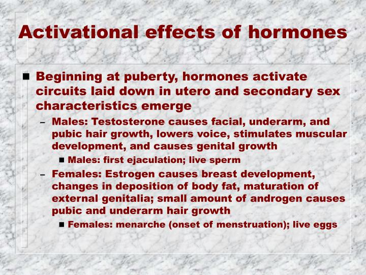 Activational effects of hormones