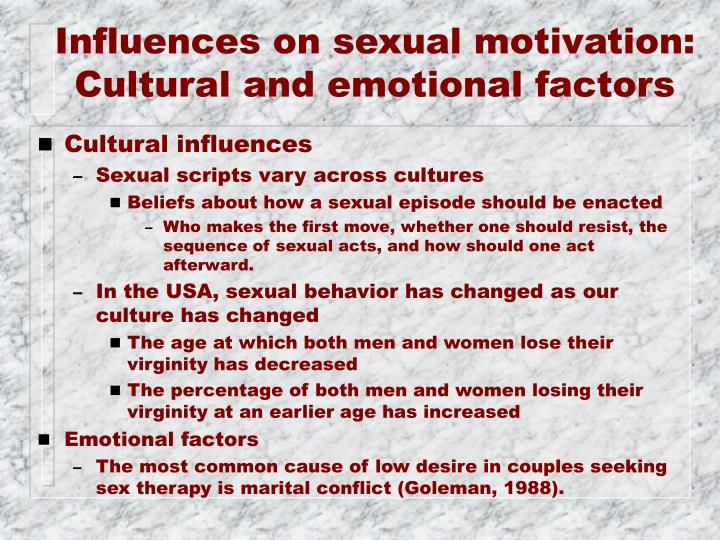 Influences on sexual motivation: Cultural and emotional factors