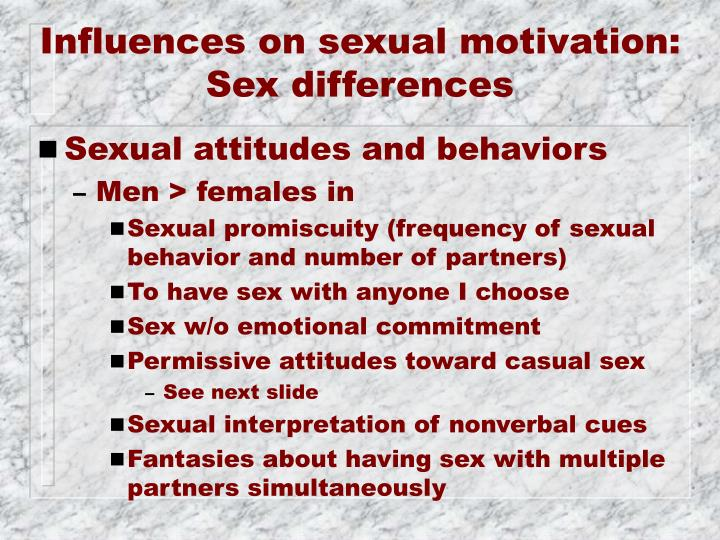 Influences on sexual motivation: Sex differences