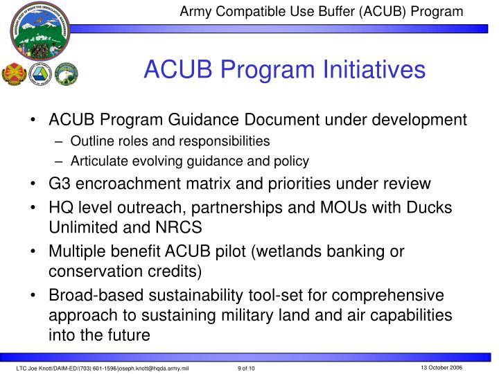 ACUB Program Initiatives