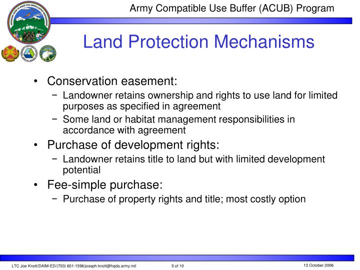 Land Protection Mechanisms