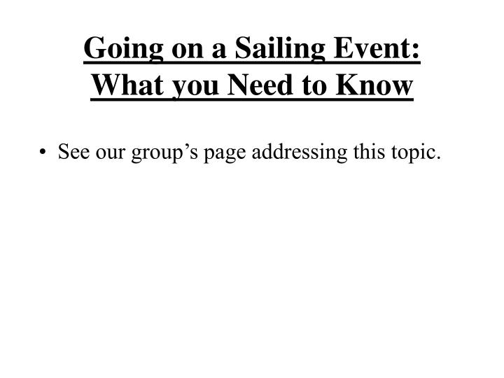 Going on a Sailing Event: