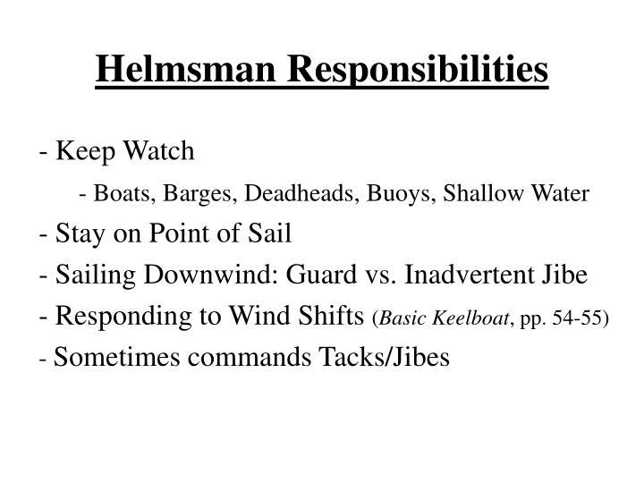 Helmsman Responsibilities