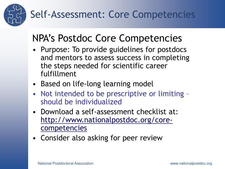 Self-Assessment: Core Competencies