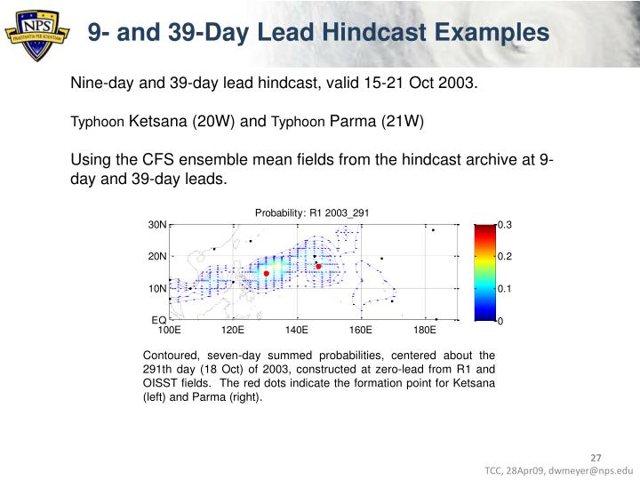 9- and 39-Day Lead Hindcast Examples