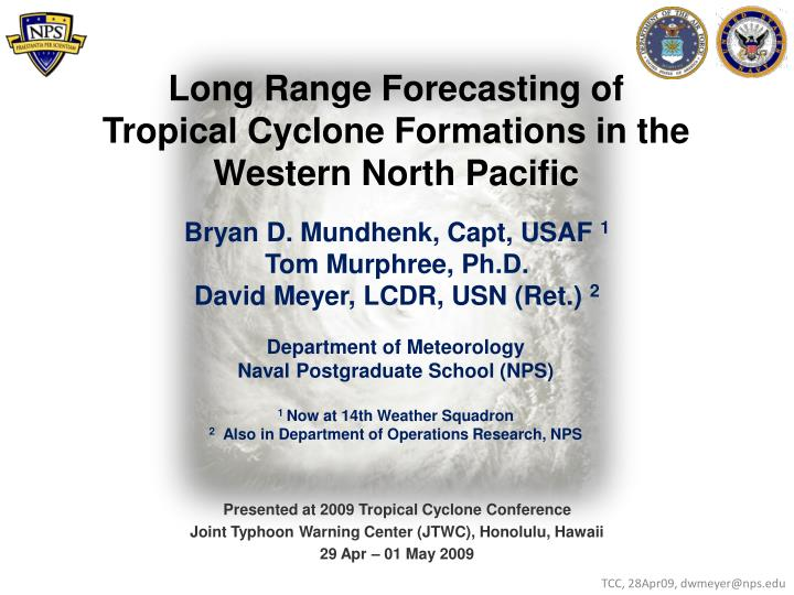 Long range forecasting of tropical cyclone formations in the western north pacific