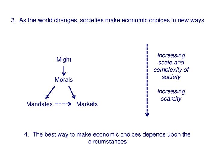 3.  As the world changes, societies make economic choices in new ways