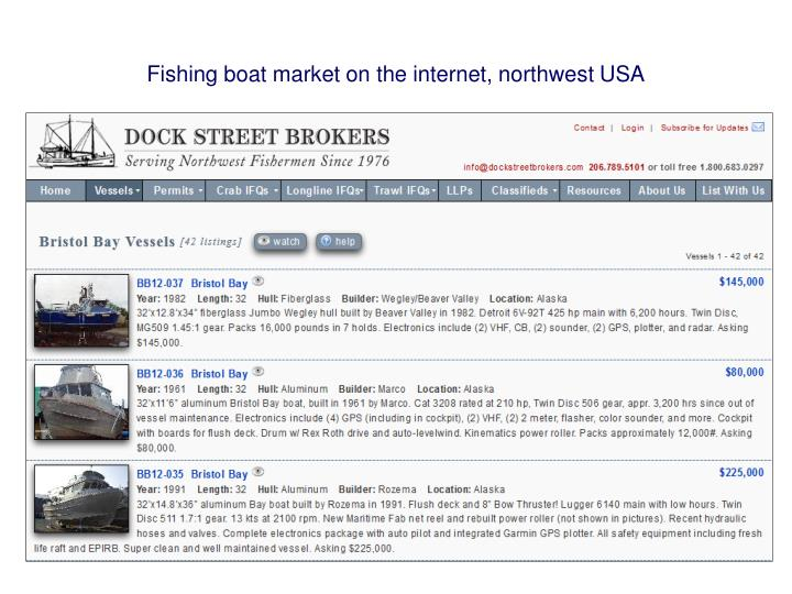 Fishing boat market on the internet, northwest USA