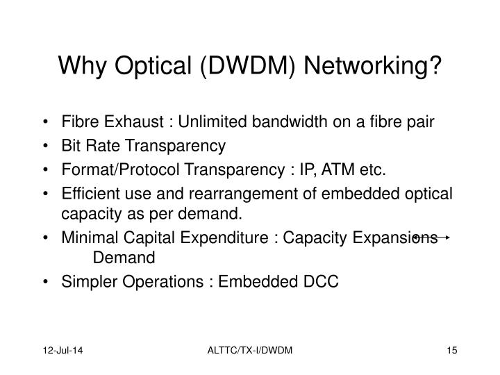 Why Optical (DWDM) Networking?