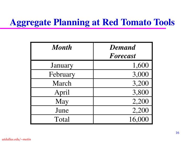 Aggregate Planning at Red Tomato Tools