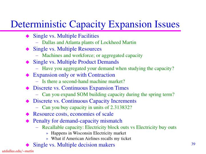 Deterministic Capacity Expansion Issues