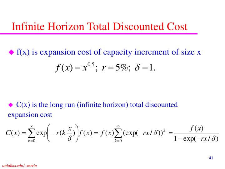 Infinite Horizon Total Discounted Cost