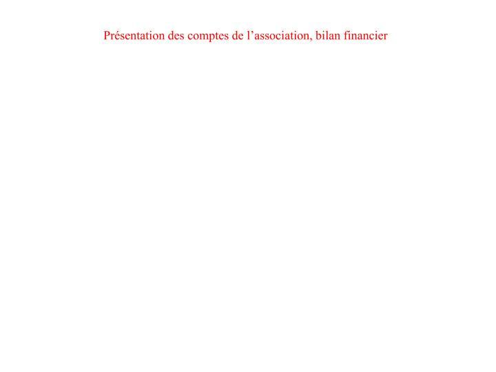 Présentation des comptes de l'association, bilan financier