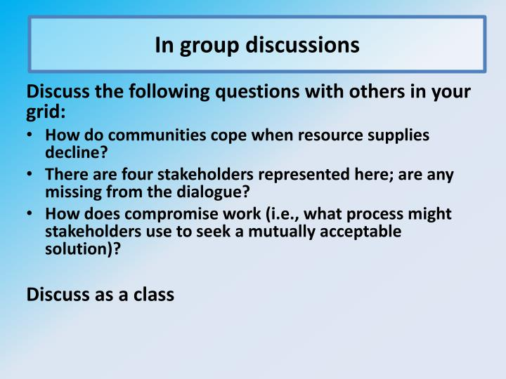 In group discussions